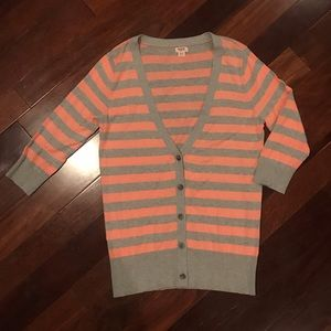 Mossimo Supply Co. gray & peach striped cardigan